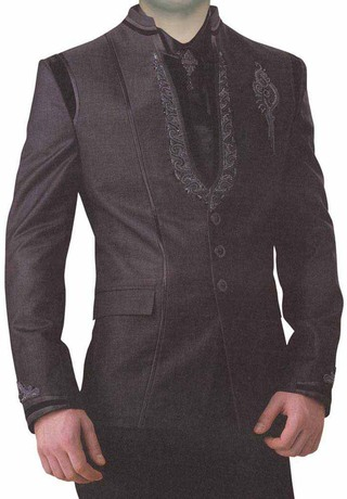 Mens Purple Wine 5 Pc Groom Suit 3 Button