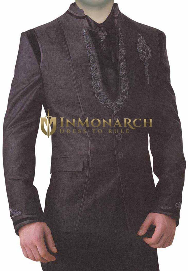 Ceremonial Purple Wine 5 Pc Groom Suit