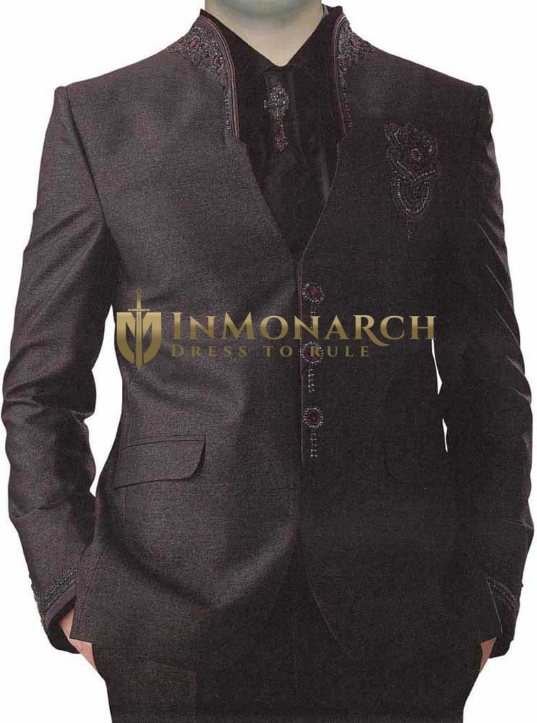 Mens Wine 5 Pc Jodhpuri Suit 3 Button