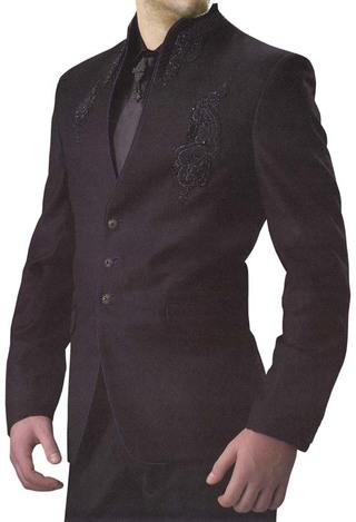 High Neck Black 5 Pc Designer Suit