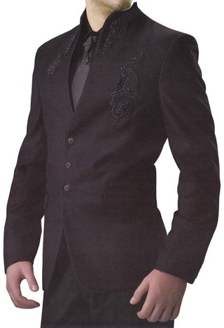 Mens Purple Wine 5 Pc Designer Suit High Neck
