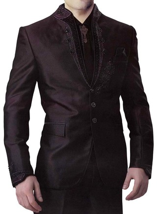 Mens Black 6 Pc Jodhpuri Suit Embroidered