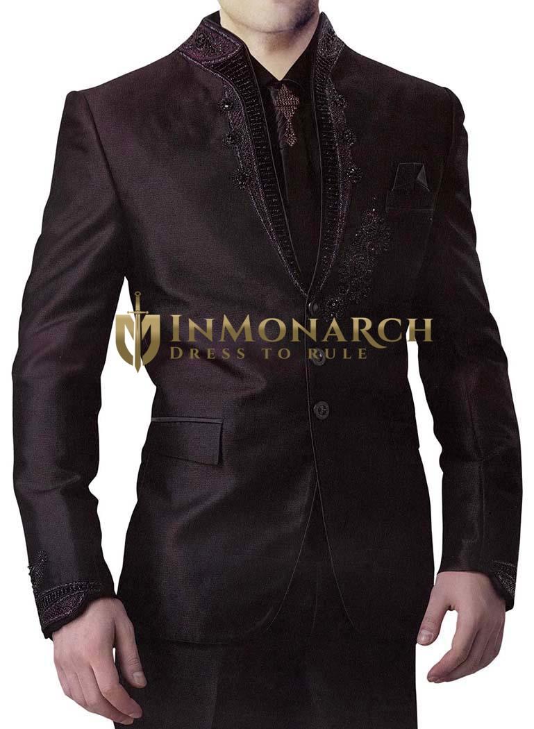 Mens Black 6 Pc Jodhpuri Suit Embroidered