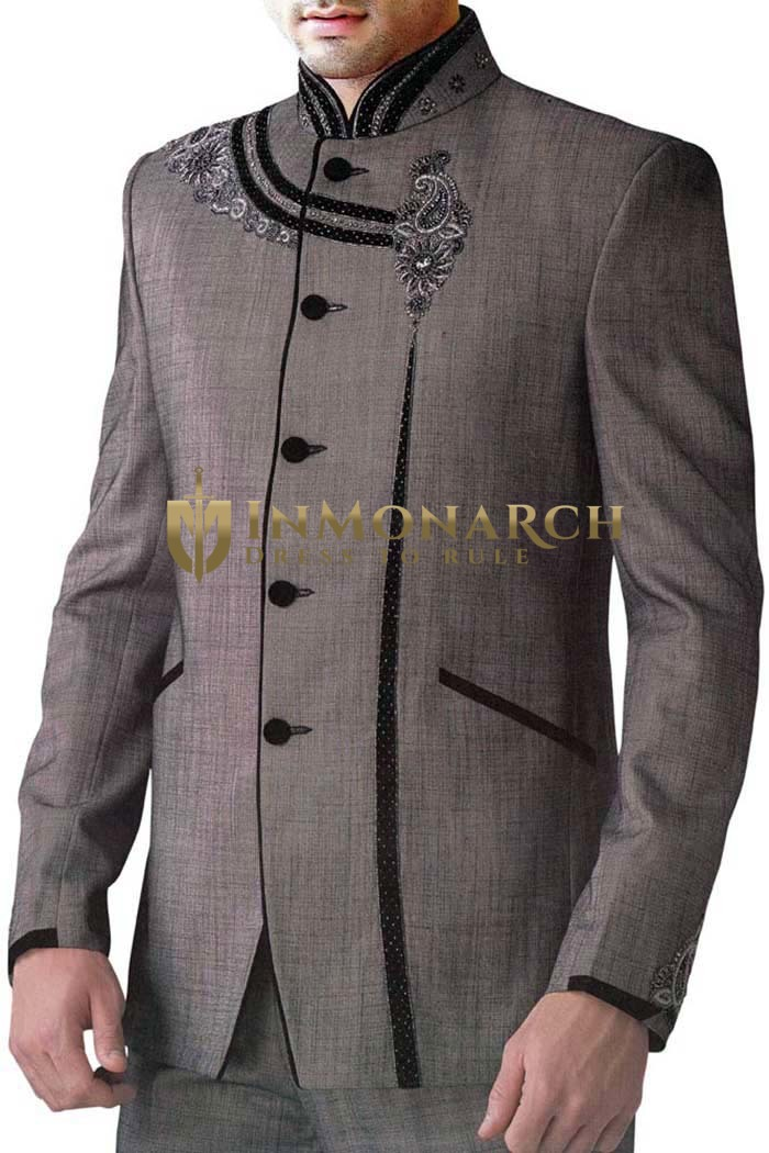 Mens Gray Polyester 2 pc Jodhpuri Suit