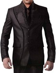 Mens Brown 6 pc Designer Partywear Suit