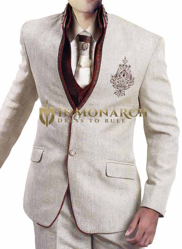Mens Cream 6 Pc Jodhpuri Suit Embroidered