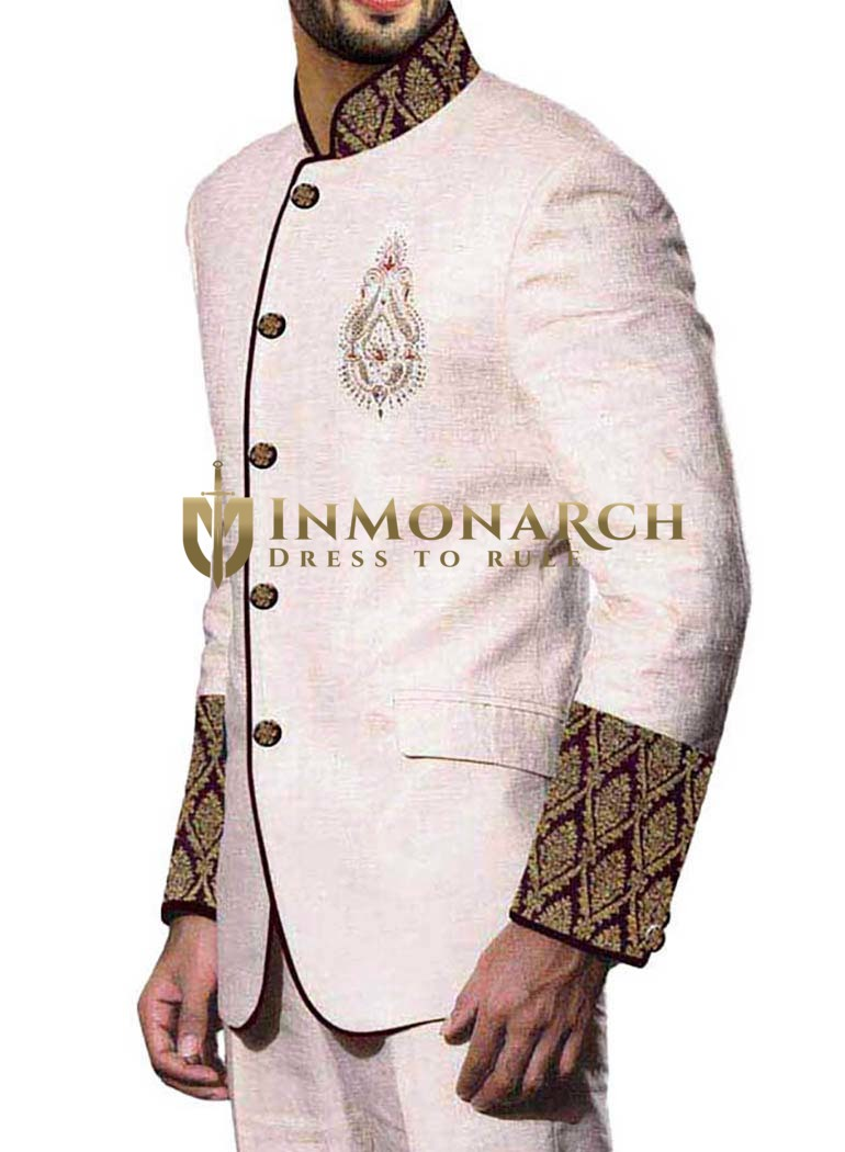 Mens Cream 2 Pc Jodhpuri Suit Patch Work