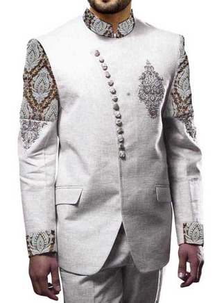 Mens White 2 Pc Jodhpuri Suit Reception