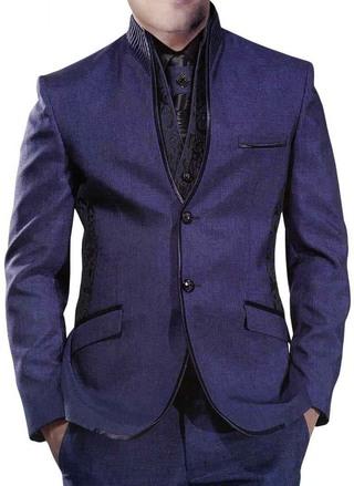 Stately Look Purple Gray 6 Pc Jodhpuri Suit