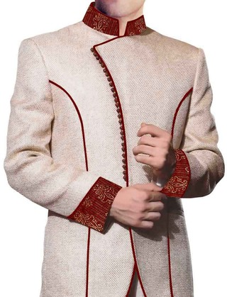 Mens Cream 3 Pc Jodhpuri Coat Patched Work