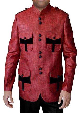 Mens Red Jute 2 Pc Jodhpuri Suit Black Patch