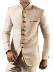 Mens Cream 2 Pc Jodhpuri Suit 9 Button