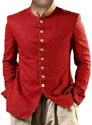 Mens Red Jute 2 Pc Jodhpuri Coat 8 Button