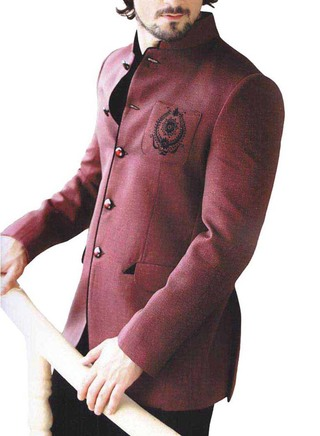 Mens Burgundy 2 Pc Wedding Jodhpuri Suit