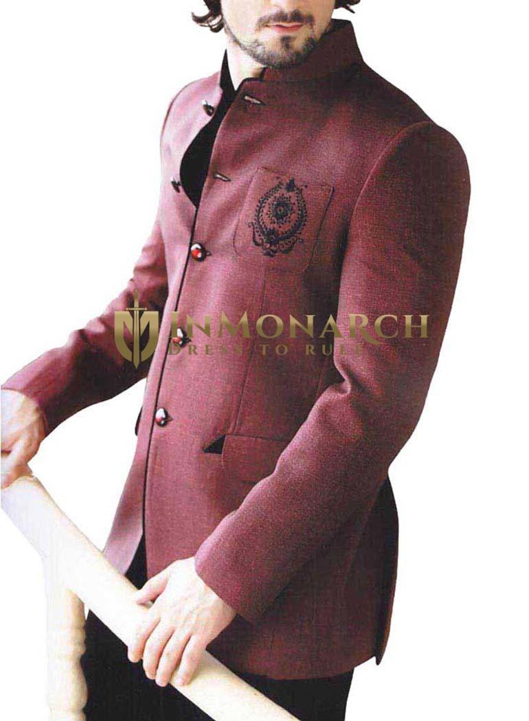 Emperor Look Burgundy 2 Pc Wedding Suit