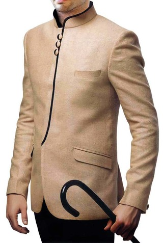 Mens Beige 2 Pc Jodhpuri Suit Indian Wedding
