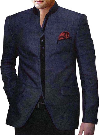 Mens Navy blue Look 3 Pc Jodhpuri Suit Ethnic