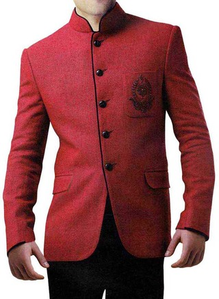 Mens Red Linen Jute 2 Pc Jodhpuri Suit