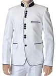 Mens White Linen 2 Pc Jodhpuri Suit Black Piping