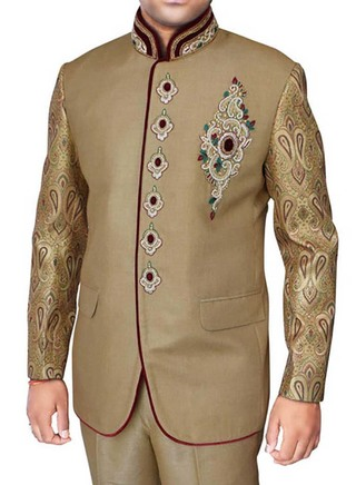 Mens Tan 2 Pc Jodhpuri Suit Royal Engagement