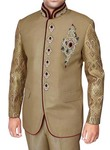Mens Tan 2 Pc Jodhpuri Suit Royal Engagement