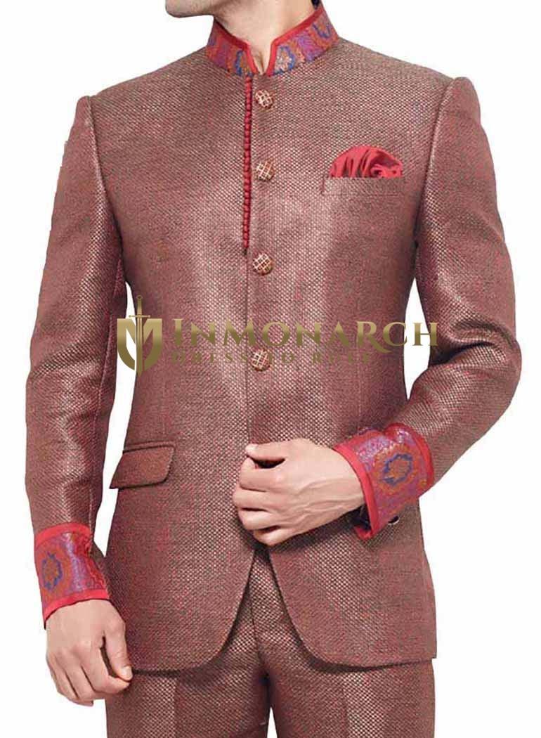 Bandhgala Indian Red 3 Pc Jodhpuri Suit