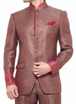 Mens Red Jute 3 Pc Jodhpuri Suit Indian Wedding