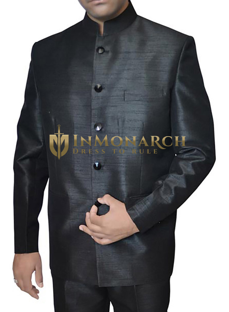 Mens Black Dupion 2 Pc Jodhpuri Suit Engagement