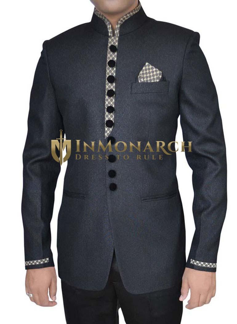 Mens Black Polyester Luxurious 3 Pc Jodhpuri Suit