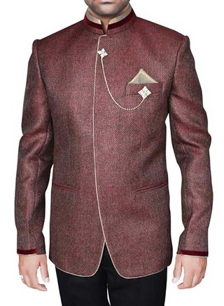 Luxurious Wine 4 Pc Party Wear Suit