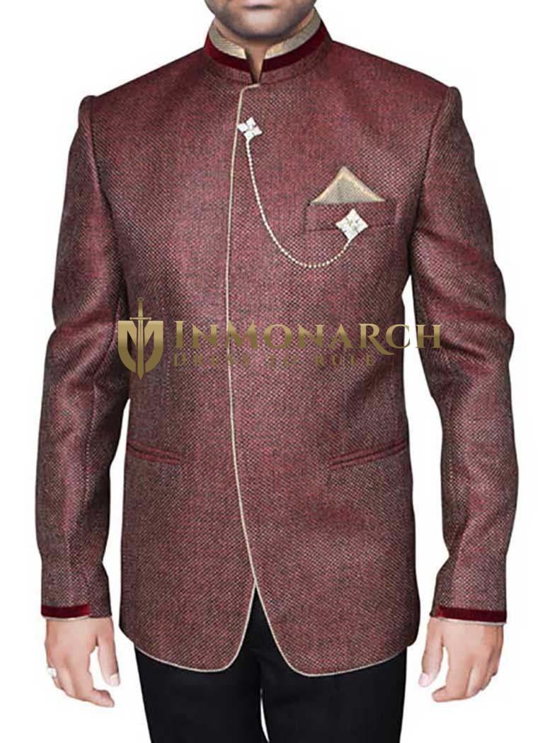 Mens Wine 4 Pc Party Wear Suit Luxurious