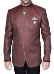 Mens Wine 4 Pc Party Wear Suit Luxurious