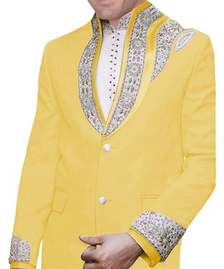 Mens Yellow Embroidered 3 Pc Jodhpuri Suit Designer