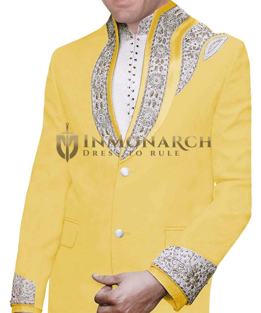 Designer Yellow Embroidered 3 Pc Jodhpuri Suit