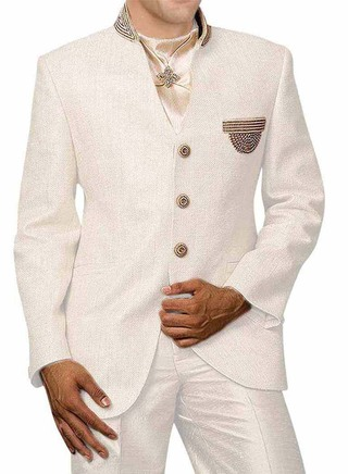 Attractive Embroidered Cream 4 Pc Jodhpuri Suit