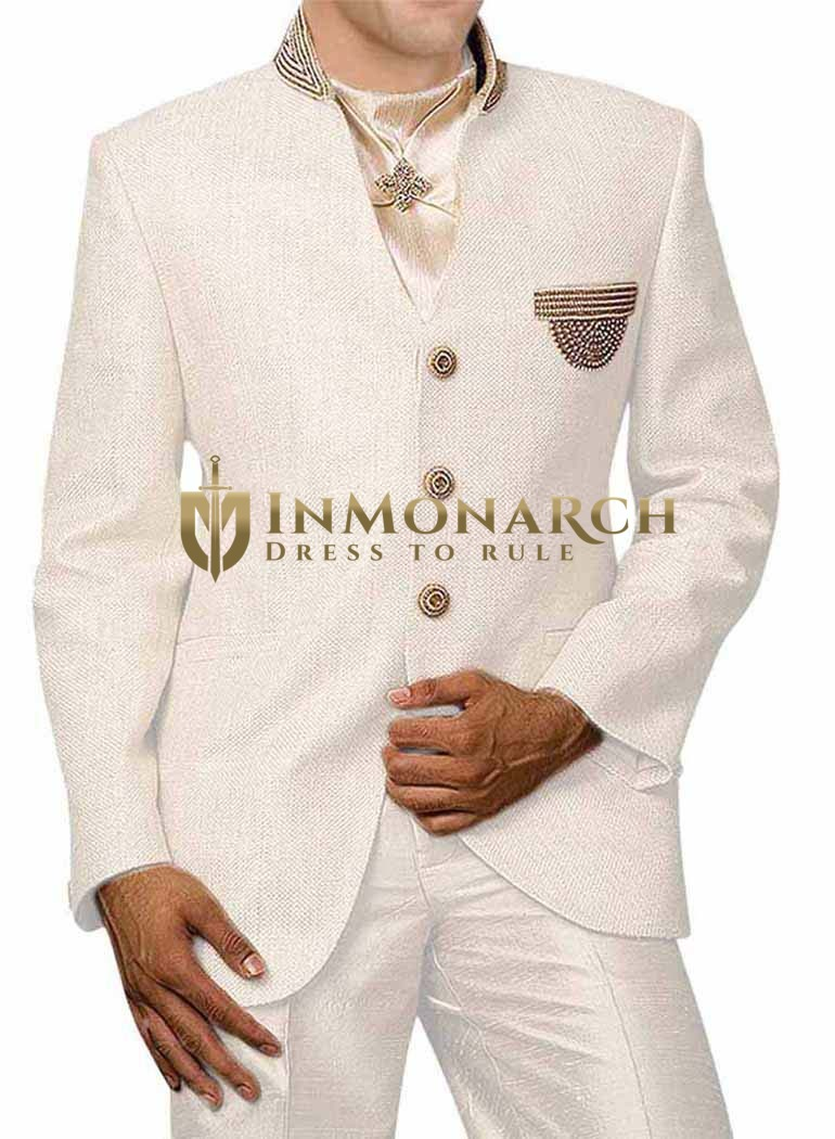 Mens Cream 4 Pc Jodhpuri Suit Embroidered