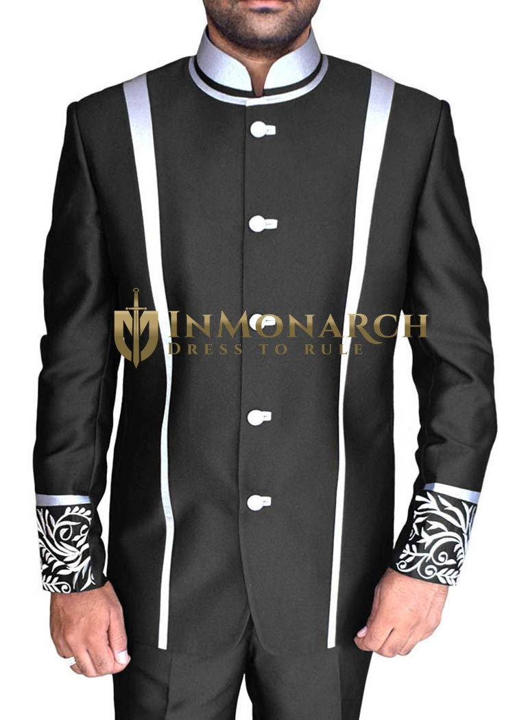 Impressive Black 2 Pc Jodhpuri Suit