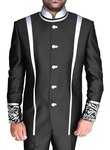 Mens Black Polyester 2 Pc Jodhpuri Suit Partywear