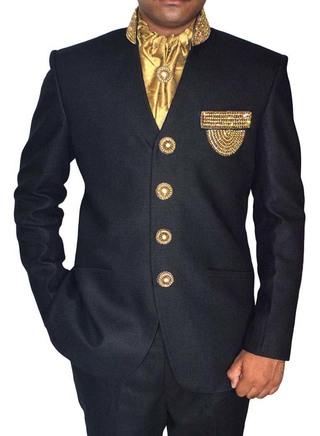 Embroidered V Neck Black 5 Pc Jodhpuri Suit