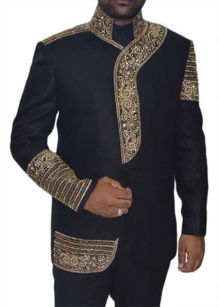 Mens Black Embroidered 3 Pc Jodhpuri Suit Stand Collar