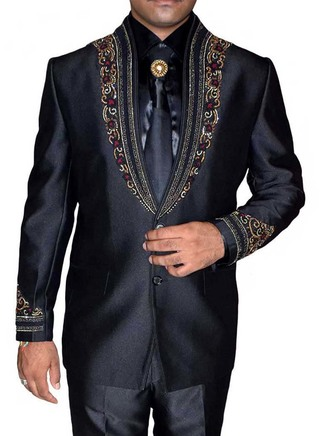 Mens Black 5 Pc Jodhpuri Suits Embroidery Work