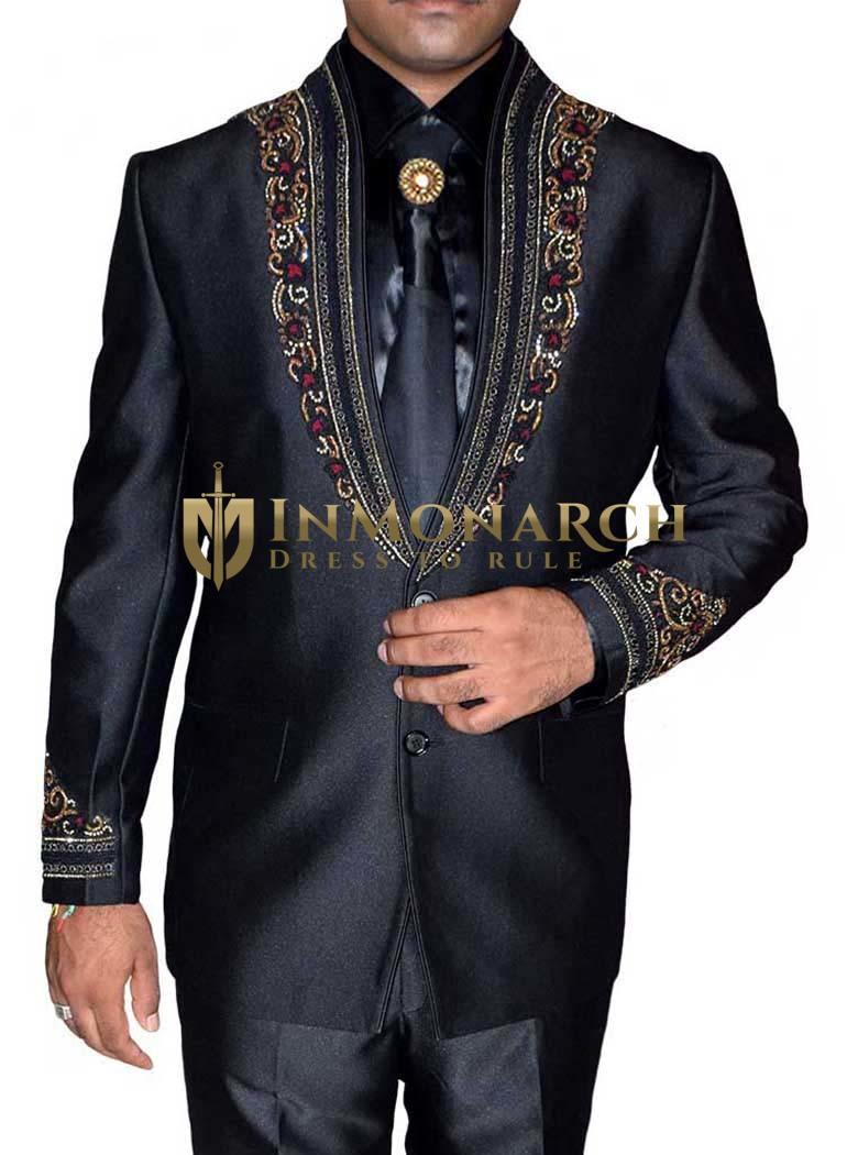 Fashionable 5 Pc Black Jodhpuri Suits