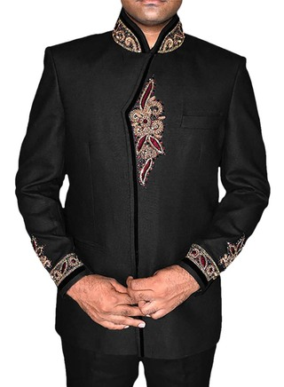 Mens Black Linen 2 Pc Jodhpuri Suits Embroidered