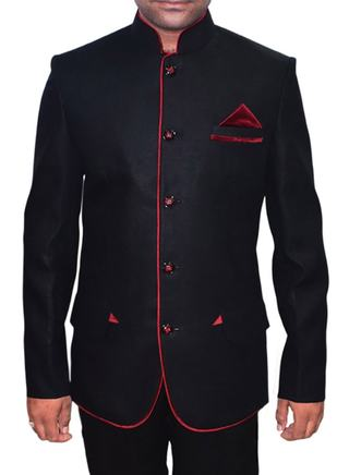 Mens Black 3 Pc Jodhpuri Suits Velvet Piping