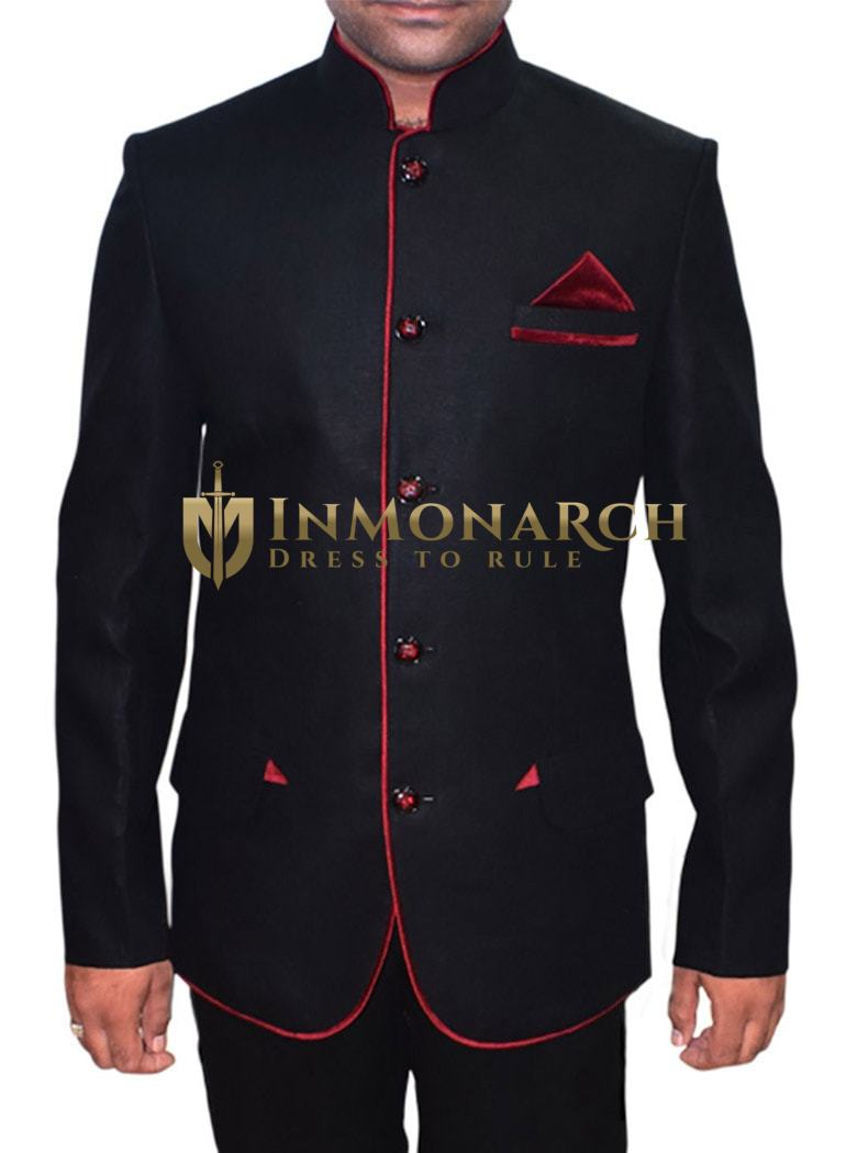 Decent Looking Black 3 Pc Jodhpuri Suits
