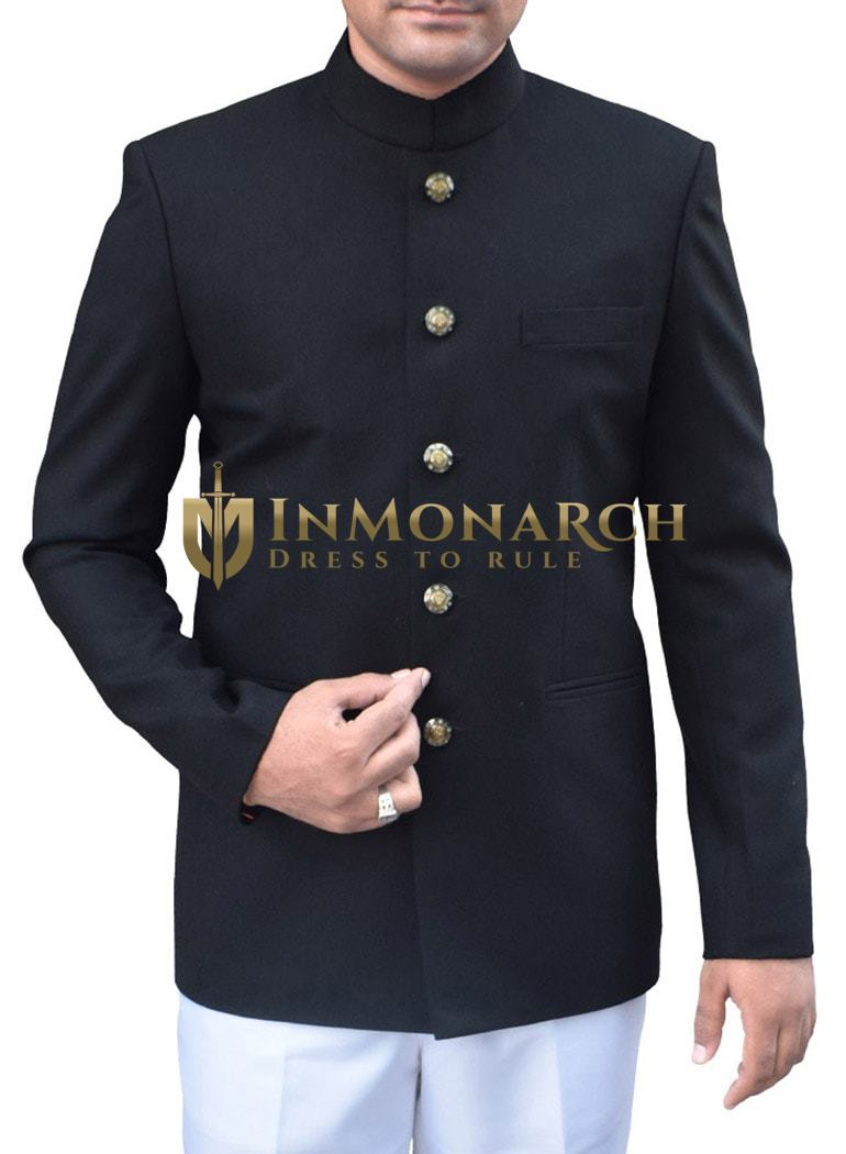 Mens Black 2 Pc Jodhpuri Suit Traditional