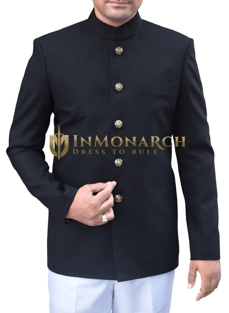 Mens Black 2 Pc Jodhpuri Suit Traditional