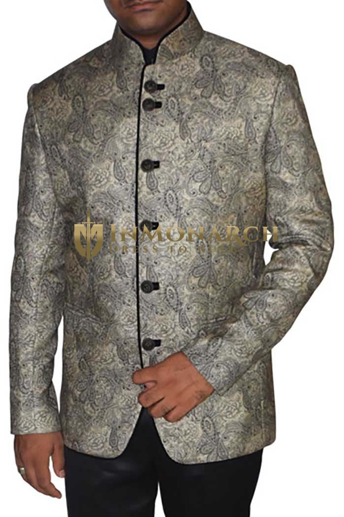 Mens Beige Polyester Viscose 2 Pc Jodhpuri Suit
