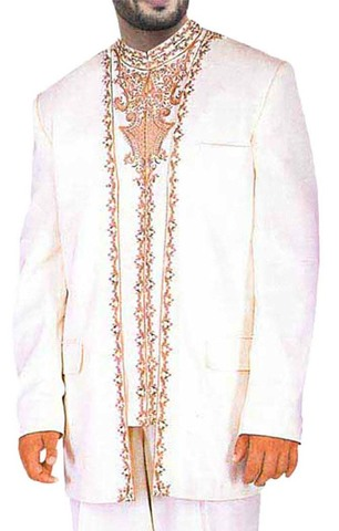 Mens White 3 Pc Wedding Suit Designer Work