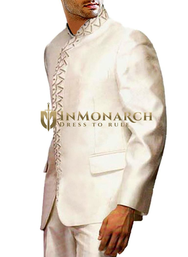 Mens Cream 2 Pc Jodhpuri Suit Hand Embroidery